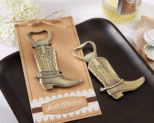 Just Hitched Cowboy Boot Bottle Openers Wedding Favors, 48 -