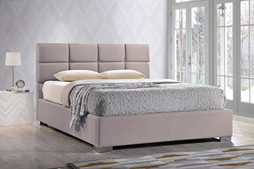 Baxton Studio Sophie Modern & Contemporary Linen Upholstered Platform Bed, King, Beige