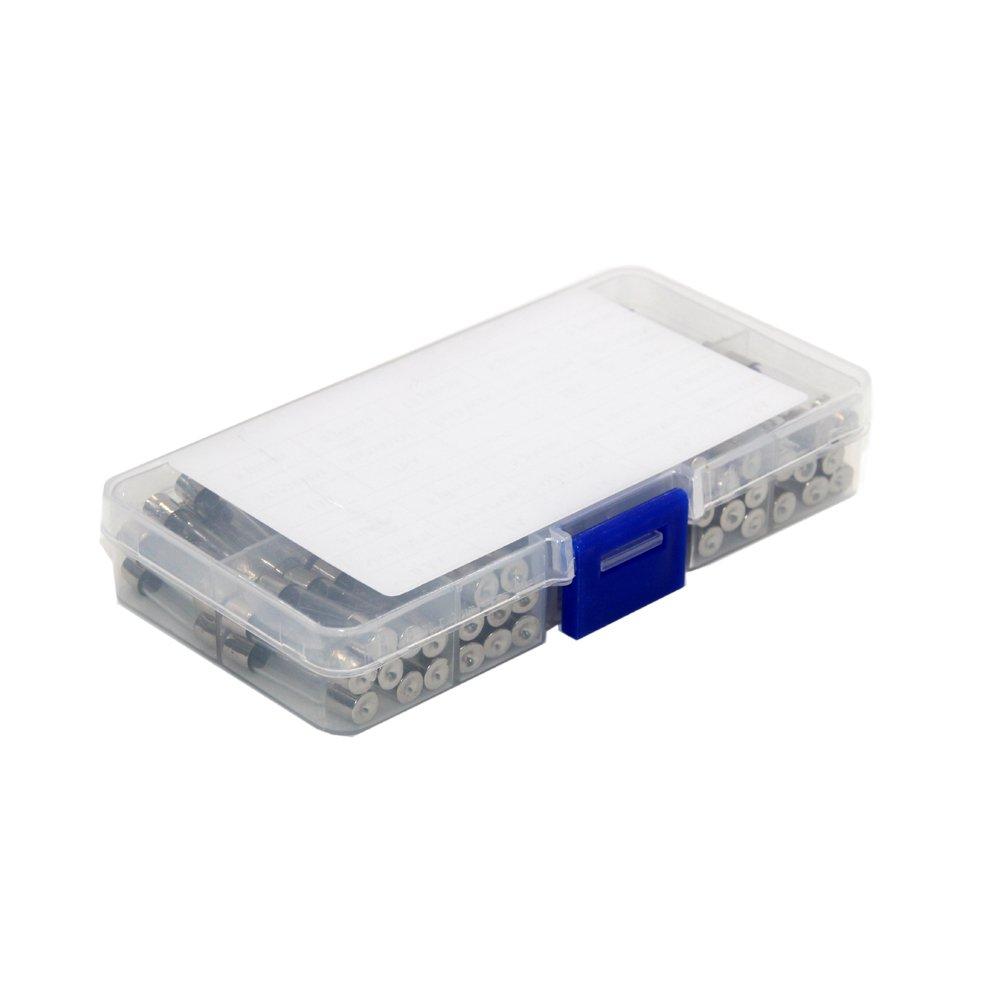Tocas T el/éctrica Fusible Amp Fast-Blow Glass Fuse con la caja,0,5 A 1 A 2 A 3 A 5 A 10 A 15 A 20 A 30 A 72 piezas 6 x 30 mm 72