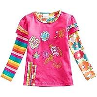 VIKITA 2017 Girls Rainbow Stripe Flower Cotton T Shirt Tee Long Sleeve Clothes for 2-6 Years