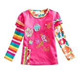 VIKITA Little Girls Floral Print Sequin Long Sleeve Cotton T-Shirt Top L220FUCH 8T