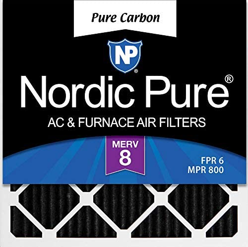 Nordic Pure 24x24x1 MERV 8 Pure Carbon Pleated Odor Reduction AC Furnace Air Filters 3 Pack