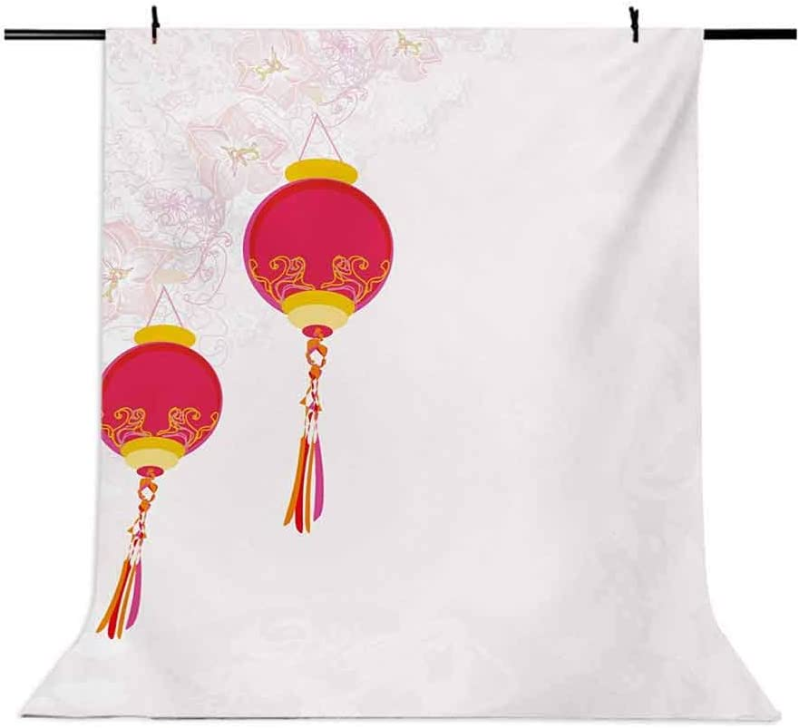 Lantern 6.5x10 FT Photo Backdrops,Celebration of The Passing Year in China Culture Elements of Orient Background for Photography Kids Adult Photo Booth Video Shoot Vinyl Studio Props Earth Yellow Red