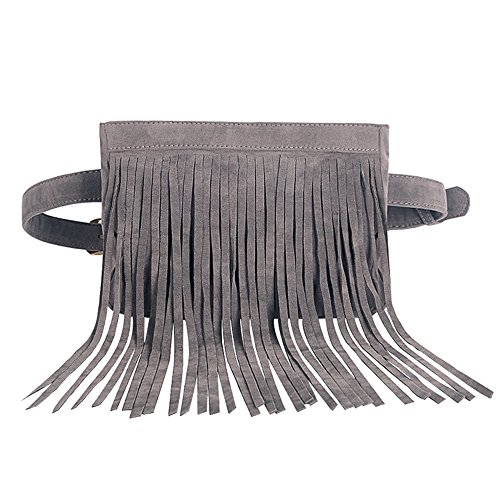 - JUMENG Popular Waist Bag for Women Shopping Tassel Belt Christmas' Present (Grey)
