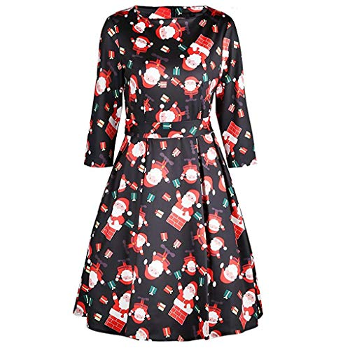 Seaintheson Christmas Womens Dress, Women's Slim Fit Flare Xmas Printed Cocktail Dress Long Sleeve Party Tuinc Skirt