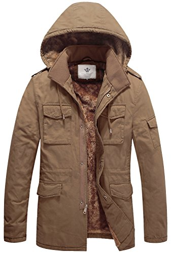 (WenVen Men's Military Style Thincken Jacket(K-Khaki,L))