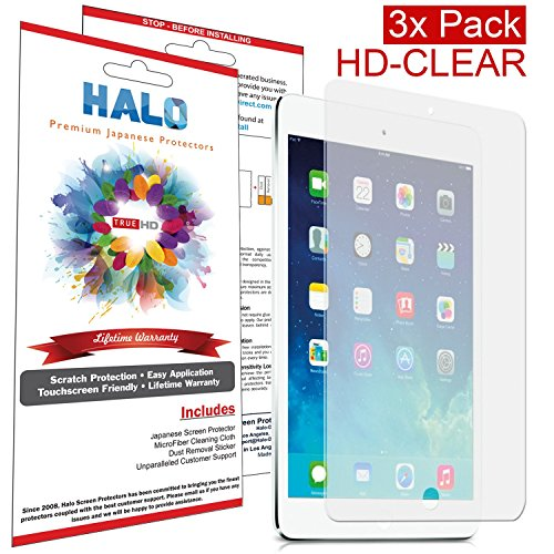 Halo Screen Protector Film Clear Matte (Anti-Glare) for Apple Ipad Mini & Ipad Mini Retina (3-Pack) - Lifetime Replacement Warranty primary