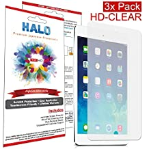 Halo Screen Protector Film High DefinitiHalo Screen Protector Film High Definition (HD) Clear (Invisible) for Apple iPad Air 2, iPad Air (3-Pack) - Lifetime Replacement Warranty