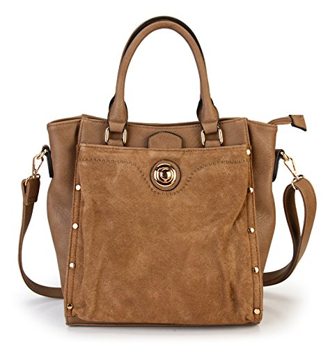 rimen-co-womens-top-handle-pu-leather-zipper-closure-tote-handbag-bl-1611-taupe