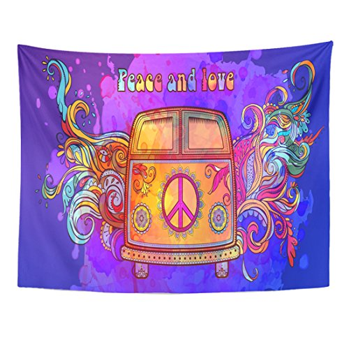 Breezat Tapestry Hippie Vintage Car Mini Van Ornamental Love and Music with Hand Written Fonts Doodle Hippy Color Retro Home Decor Wall Hanging for Living Room Bedroom Dorm 60x80 Inches (Van Hippy)