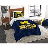 2 Piece NCAA University of Michigan Wolverines Comforter Twin Set, Sports Patterned Bedding, Featuring Team Logo, Fan Merchandise, Team Spirit, College Football Themed, Blue Yellow