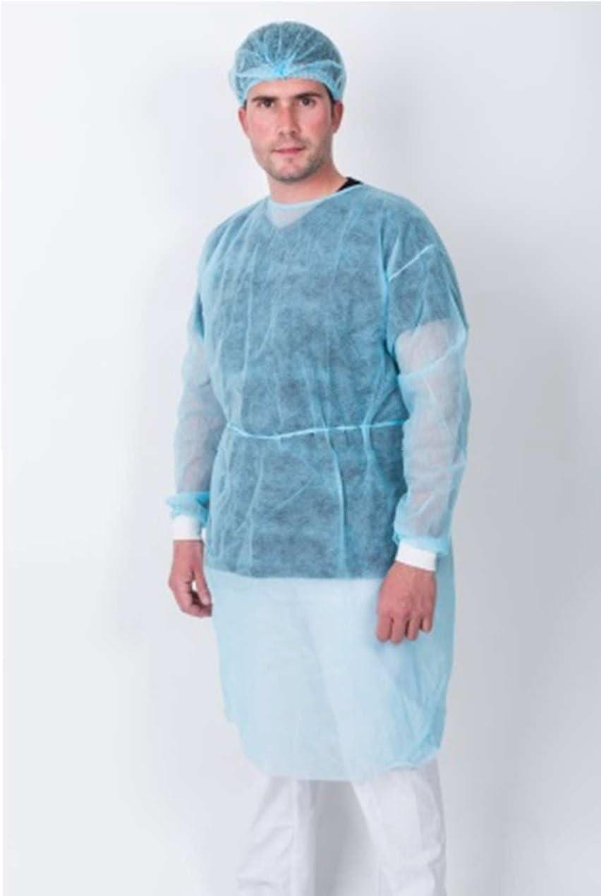 Bata protección médica desechable. Pack 10 Ud Azul con cierre ...