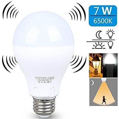 Motion Sensor Light Bulb?7W Smart Bulb Dusk to Dawn?E26 Base Indoor,Radar Motion Sensor Light Bulbs, White 6500K Outdoor Motion Sensor Bulbs Auto On/Off by aijiaer