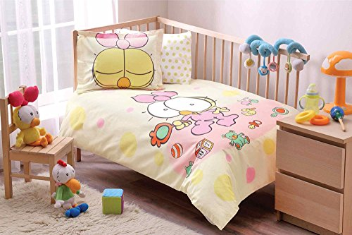 100% Organic Cotton Soft and Healthy Baby Crib Bed Duvet Cover Set 4 Pieces, Sizinkiler Lemon Baby Bedding Set by TAC