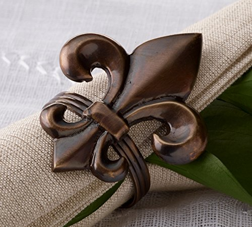 - KINDWER Fleur de Lis Napkin Ring, Brass