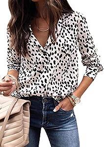ECOWISH Womens V Neck Leopard Casual Print Tunic Long Sleeve Button Down Shirt Tops