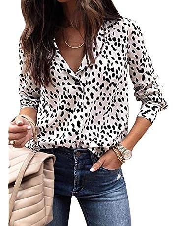55b9f7cfd779 ECOWISH Womens V Neck Leopard Casual Print Tunic Long Sleeve Button Down  Shirt Tops 229Khaki L