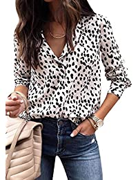 Womens Casual Tops V Neck Leopard Tunic Long Sleeve Button Down Shirts Top