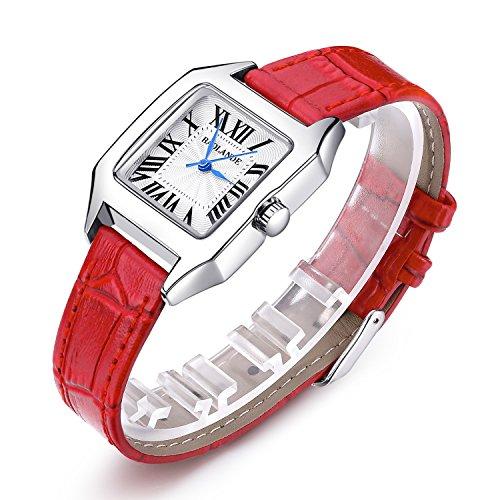 Women Wrist Watch Ladies Waterproof Red Leather Strap Watches Dress Quartz - Face Square Women