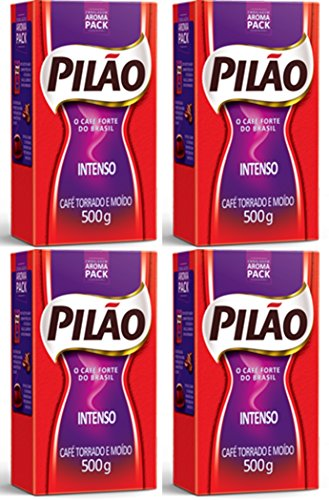 Pilão Intense Coffee Roasted and Ground 17.6oz | Café Intenso Torrado e Moído 500g (PACK OF 04)