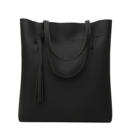 Handbags Bag Crossbody Hosamtel Bag Black Tassel Bag Fashion Bucket Shoulder Women's PRqxwF8O