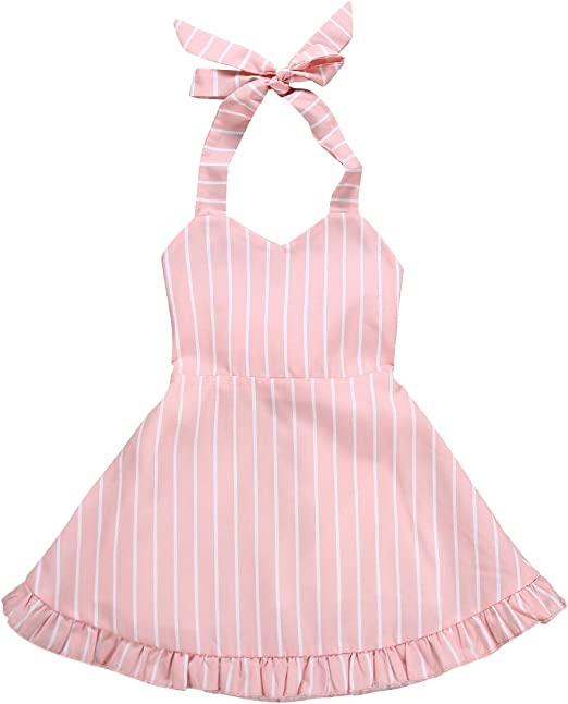Adorable Toddler Baby Girls Stripe Tops Bowknot Strap Skirt Outfits Set Clothes