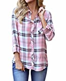 Grace Elbe Women's V Neck 3/4 Cuffed Sleeve Plaid Blouse Tops Pink XX-Large