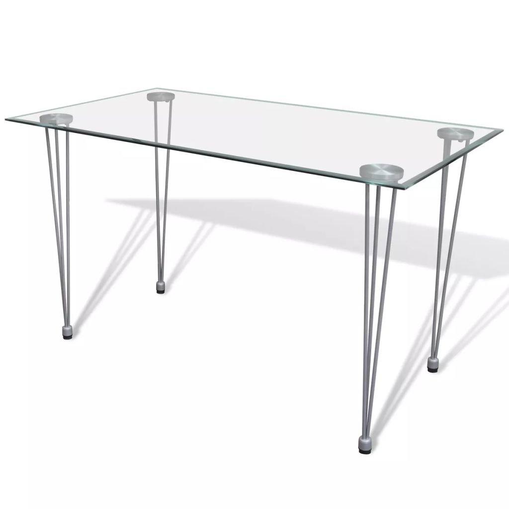 Sencilla y ligera mesa  transparente con patas de acero. Buena relación calidad precio.