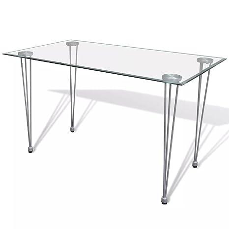 Tavolo Con Piano In Vetro.Tavolo Da Pranzo Con Piano Superiore In Vetro Trasparente