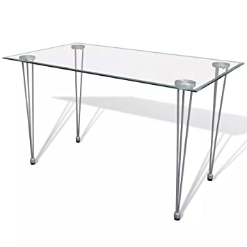 Vidaxl Table Transparente Avec Plateau Verre Trempe Pour Salle A Manger Cuisine