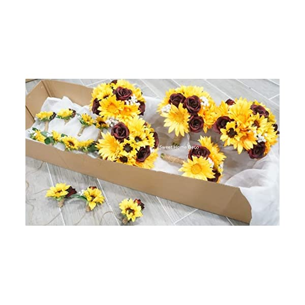 """Sweet Home Deco Silk Sunflower Burgundy Rose Baby's Breath Mixed Wedding Bridal Bridesmaid Bouquet Boutonniere Corsage Package for Autumn (Yellow/Burgundy-6""""W Bouquet)"""