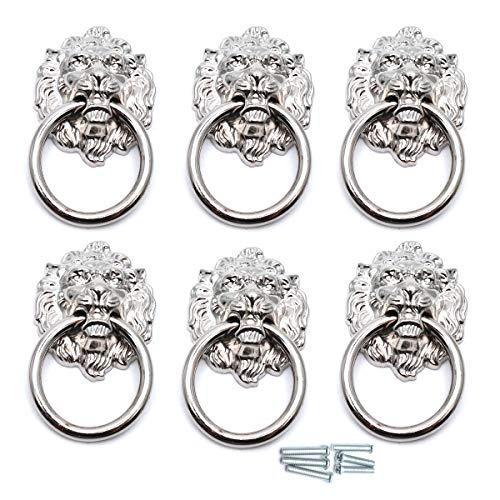 (Sydien 67x40mm Lion Head Ring Pulls/Handles for Dresser, Drawer, Cabinet, Door,Cupboard, Closet 6 Pcs (Silver Tone))