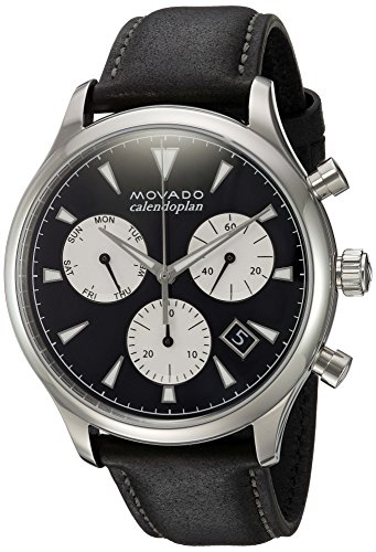 Movado Men's Swiss Quartz Stainless Steel and Leather Casual Watch, Color:Black (Model: 3650005)