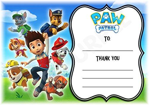 Paw Patrol Gracias Por Venir Fiesta Tarjetas Paw Diseño