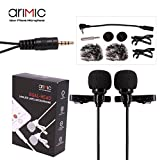 ARIMIC Dual-Headed Lavalier Lapel Clip-on Omnidirectional Condenser Microphone for Apple iPhone, iPad, iPod Touch, Android & Windows Smartphones DSLR Cameras (6m (236in)) … (6m (236in|))