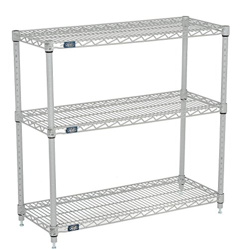 Nexel (3) Shelf Media Stand Silver Epoxy, 30 x 14 by Nexel