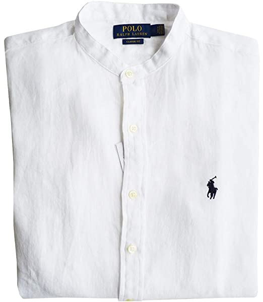 Ralph Lauren Camisa T.M, Lawrence Band, Blanco, Ajuste Clásico