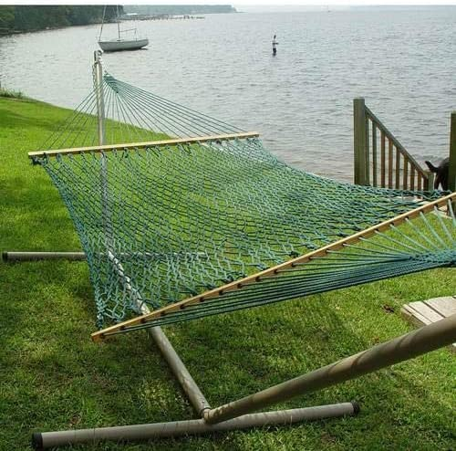 "Without Stand Green FSC Wood Bars The Garden Hammocks/® Comfortable Sleeping Polyester Green Rope Hammock Double 60/""X 84/"" Bed Size, 13ft Overall Length"
