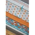 DK Leigh Modern Geometric 5 Piece Gender Neutral Crib Bedding Set, Orange/Aqua/Grey