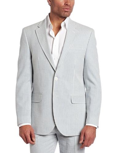 Tommy Hilfiger Men's Trim Fit 2 Button Side Vent Seersucker Sport Coat