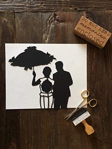 Wedding Silhouette Wall Art - First Anniversary Paper Gift - Custom Silhouette Portrait - Silhouette Picture - Bridal Gift - Unique Gift
