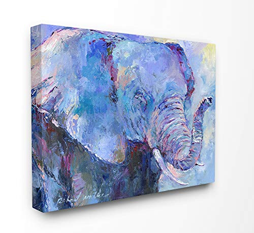 The Stupell Home Décor Collection Brightly Colored Blue and Purple Painted Elephant Portrait Stretched Canvas Wall Art, 16 x 20, Multi