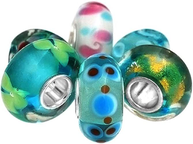 PUPPY DOG BLUE LAMPWORK MURANO GLASS .925 Sterling Silver EUROPEAN Bead Charm