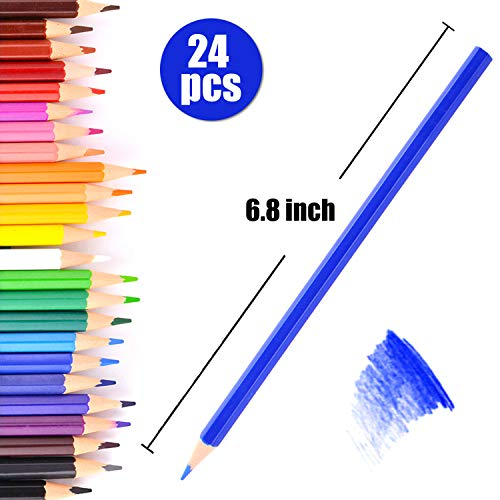 MEMX Colored Pencils Set, Presharpened - Colored Pencils for Adults and for Kids - Color Pencils For Artists With Cardboard Case - Professional Coloring Pencils for Adult Coloring Book, 24 Count