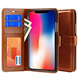 iphone X Case, PLESON PU Leather Wallet Case Cover for iphone X [All-Around Protection] Case Purse Pouch With Card Holders/ Magnetic Lock/ Stand Function/ Protective Wallet Cases for iphone 10 (Brown)