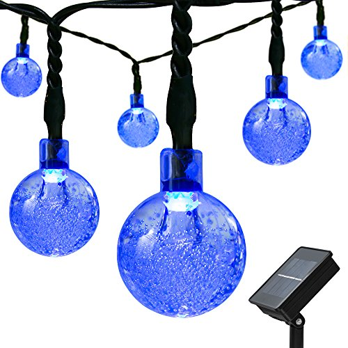 Mrupoo Upgraded Solar String Lights 30 LED 21ft 8 Modes Crystal Ball Waterproof Christmas Light for Indoor/ Outdoor, Home, Garden, Lawn, Wedding, Party, Landscape and Halloween Decorations (Blue)