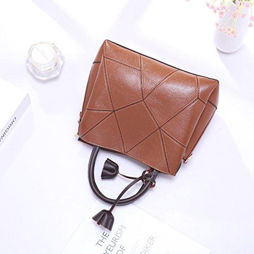 Women Leather Cowhide Handbag Top Handle Bags Crossbody Purses and Handbags (Brown) by Montrimori (Image #3)