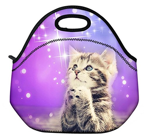 ( Wishing cat ) 3.5MM Thick Neoprene Lunch Bag / Lunch Tote, Insulated | Stretchy | Reusable | Washable | Rugged Zipper | Great For Lunchboxes & Snacks By Selric