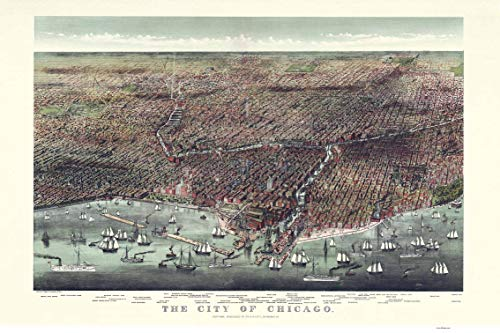 Chicago Illinois - 1892 - Birds Eye View Currier & Ives Reprint