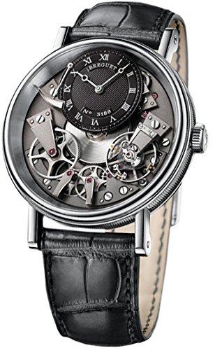 Breguet Breguet tradición Negro y Gris Esqueleto Dial 18k Blanco Oro Negro Cuero Mens Reloj 7057BBG99W6